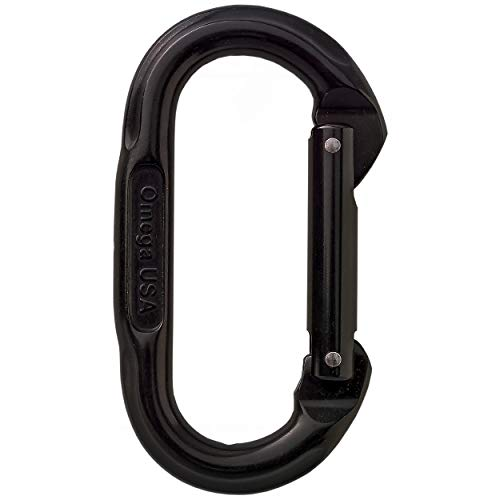Omega Pacific Carabiner Oval, Non Locking, Black , USA Made, ISO Cold Forged Aircraft Aluminum Alloy for Climbing, Safety, Rescue, Industrial, and Arborist Uses