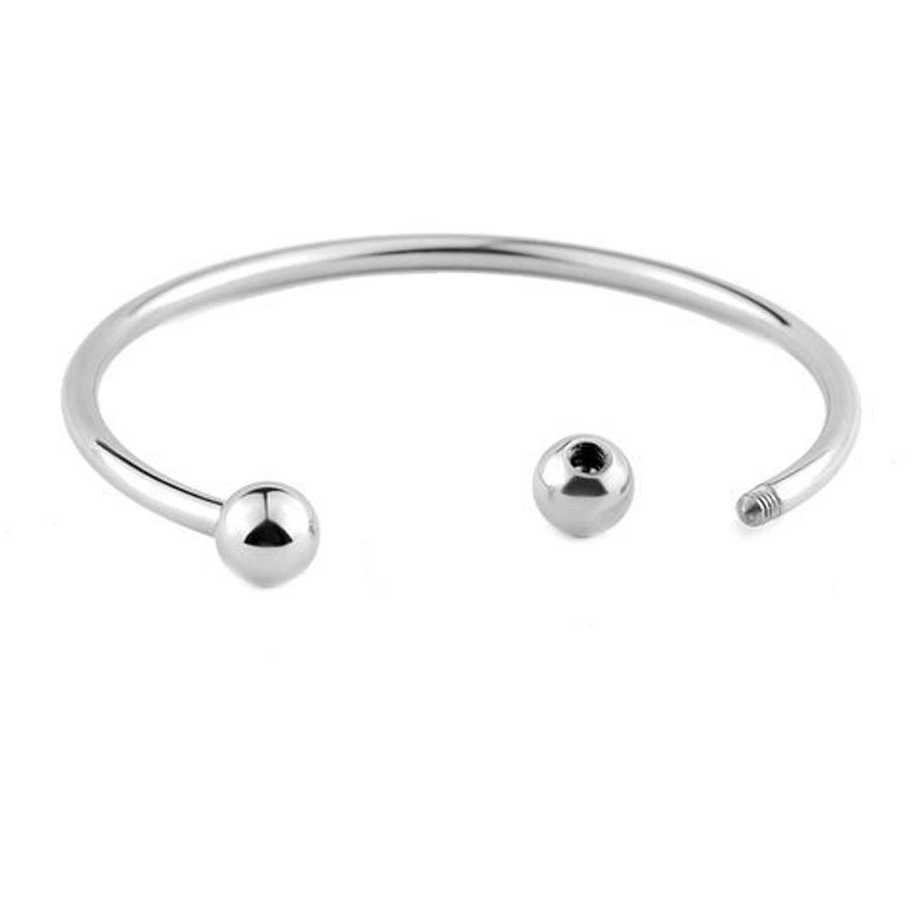 RUBYCA 20pcs White Silver Plated Bangle Bracelet Screw End Ball Cuff Charm Beads DIY Jewelry by RUBYCA