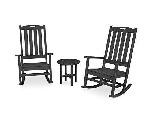 POLYWOOD Nautical Rocking Chair Set, Black