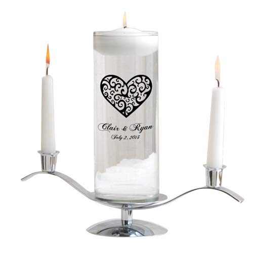 Personalized Floating Wedding Unity Candle - Personalized Wedding Candle- Includes Stand - Vintage Heart by A Gift Personalized