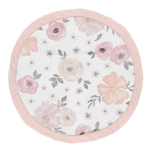 (Sweet Jojo Designs Blush Pink, Grey and White Shabby Chic Playmat Tummy Time Baby and Infant Play Mat for Watercolor Floral Collection - Rose Flower)