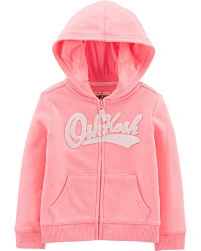 - Osh Kosh Girls' Toddler Full Zip Logo Hoodie, Sweet Pink, 5T