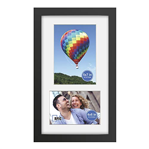 RPJC 8x14 Soild Wood 2 Opening Picture Frames with High Definition Glass Display 4x6 and 5x7 with Mat or 8x14 Without Mat for Wall Mounting Hanging Collage Photo Frame Black (4 4x6 Openings Frame With)