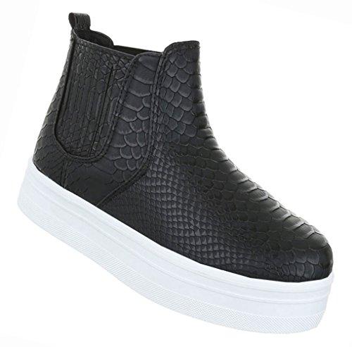 Damen Schuhe Stiefeletten Stiefel Plateau Stretch Boots Schwarz Schwarz 62728c7e65