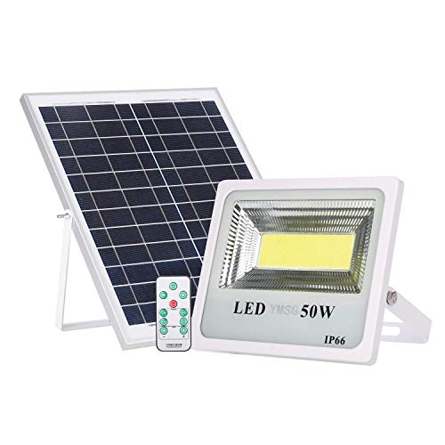 50W Solar Powered Street Flood Lights, 60 LEDs 3000 Lumens Outdoor Led Solar Lights, Waterproof IP66 with Remote Control Security Lighting for Yard, Garden, Gutter, Swimming Pool, Pathway, Basketball