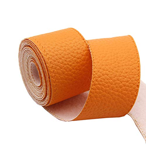 David Angie 60 mm 5 Yard Litchi Grain Faux Leather Fabric Ribbon PU Faux Leatherette Trim by The Yard for Jewelry Hair Bows Bags Accessories Making (Orange)