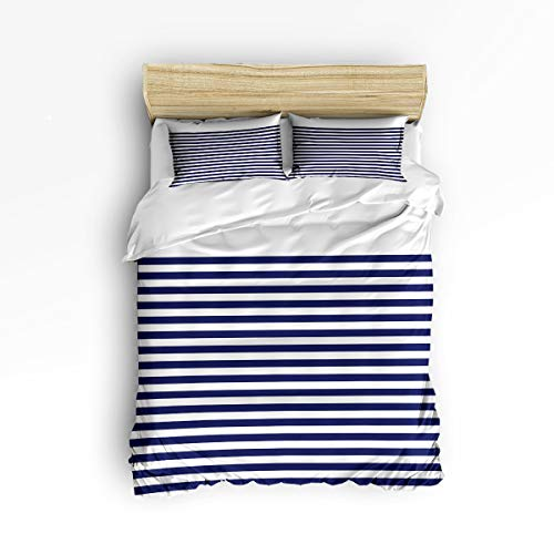 - YEHO Art Gallery , Navy Blue Horizontal Stripes with White Background Cute 3 Piece Duvet Cover Sets for Boys Girls, Cute Decorative Bedding Set Include 1 Comforter Cover with 2 Pillow Cases King Size