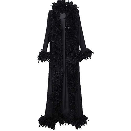 衣装 羽根つき ボレロ コート ロングコート ジャケット ガウン 長袖 フェザー マラボートリム ホワイト?ブラック 男女兼用 フリーサイズ