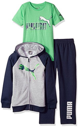 PUMA Toddler Boys' Three Piece Hoodie and Tee Set, Deep Navy, 2T -