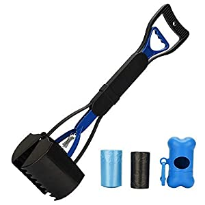 PETINCCN Pooper Scooper Long Handle Top Paw Jaws Poop Scoop Dog Sanitary Waste Pickup Removal for Small,Medium, Large, XL Pets Waste Bag Holder Feces Remover Portable Heavy Duty Disposer with Bags