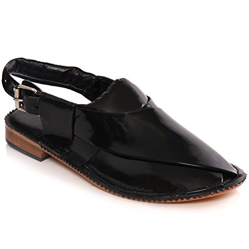 Unze Mens 'Hanks' Handmade Leather Flat Peshawari Sandals – G00195