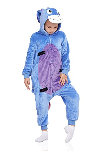 Plush Donkey Kids Costumes - Kids Donkey Pajamas Animal Onesie Kigurumi Plush Soft One Piece Cosplay Costume (Small, Smoky blue)
