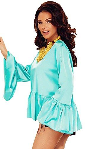 New Damen Baby Blau Tenniskleid Flouncy Swing Bluse Club tragen Tops Party Wear Casual Wear Kleidung Größe S UK 8–10
