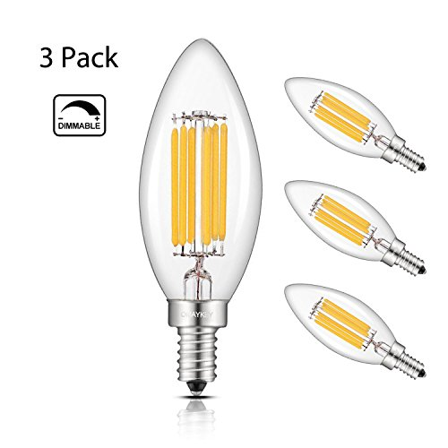 60w Led Candelabra Bulbs: OMAYKEY LED Candelabra Bulbs 6W Dimmable, 60W Equivalent 600