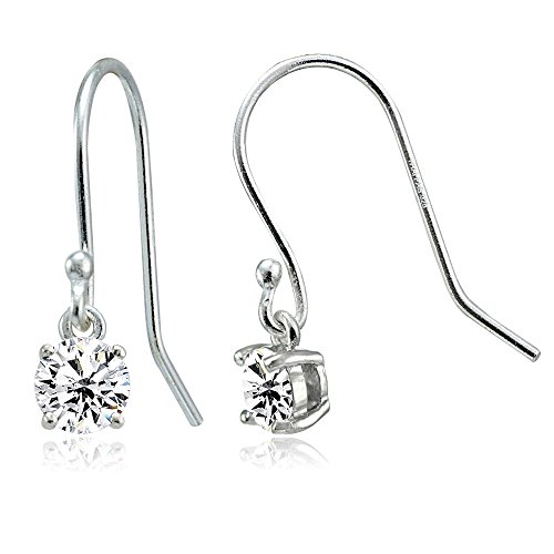 Sterling Silver Cubic Zirconia Round Dangle ()