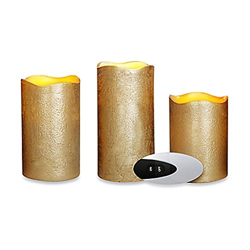 (3-piece Flameless LED Pillar Candle Set with Remote in Gold Metallic)