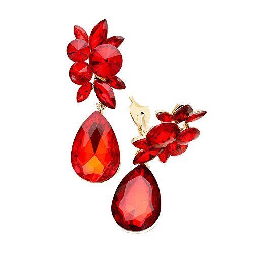 Fashion Modern Red Glass Crystal Dangle Clip On/Non Pierced Earrings Accented with Goldtones 3 in