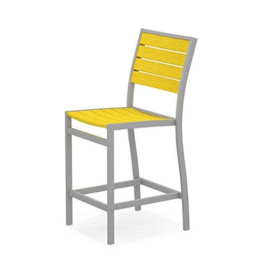 Companion Outdoor Bar Stool - POLYWOOD A101FASLE Euro Counter Side Chair, Textured Silver/Lemon