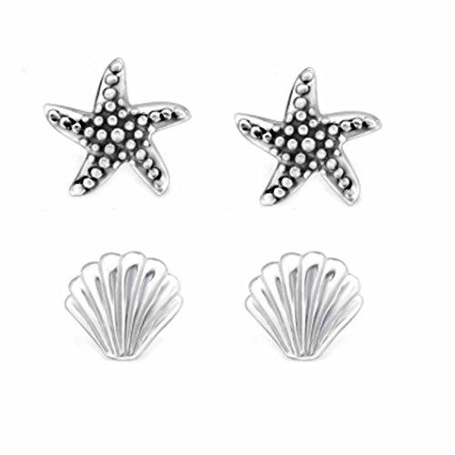 SL de Silver 2pares pendientes Juego de pendientes de conchas y estrella de mar 925Plata En Caja De Regalo