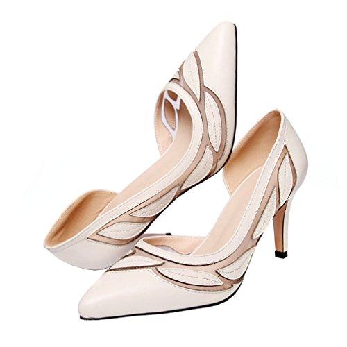 ENMAYER Damen High Heels Slip-on Spitz Zehen Solide Gaze Casual Kleid Schuhe für Frauen Stilett Pumps Schuhe Aprikose