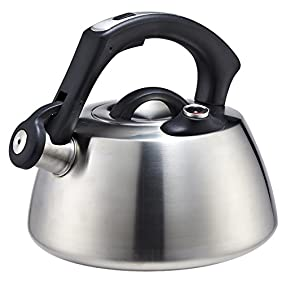 Whistling Tea Kettle 2 Quart to Boil Water on Stove Top in Quality Modern Brushed Stainless Steel