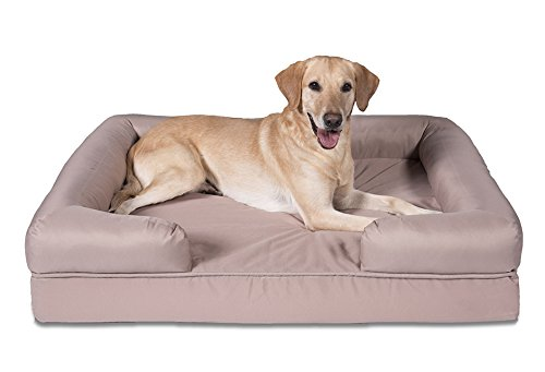 Sleepi Premium Water Resistant Memory Foam Bolster Pet Bed, 34'' x 44'' x 10'', Warm Taupe by Sleepi