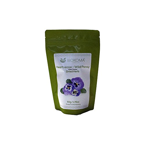 100% Pure and Natural Biokoma Heartsease - Wild Pansy Dried Herb 50g (1.76oz) in Resealable Moisture Proof Pouch