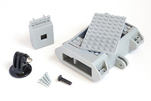 Building block compatible SmartiPi Raspberry Pi B+,2, 3, and Pi 3 +B case w/camera case and GoPro compatible mount – Gray