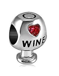 JMQJewelry Heart Love Wine Glass Charms Crystal Birthstone Beads For Charm Bracelets