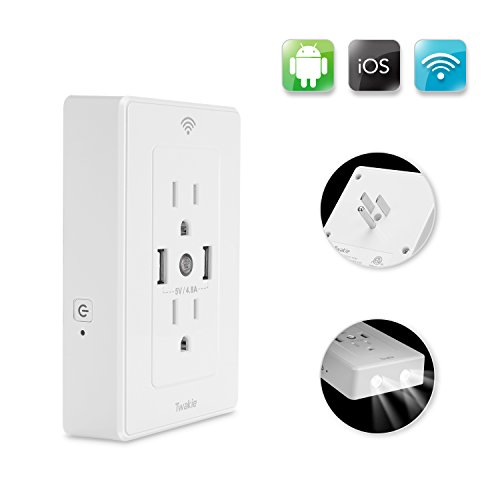No Hub Required Wifi Smart Plug Outlet with 4.8A 2 USB Charger and Night Light 15 Amp Surge Protector Receptacle Wireless On//Off Outlet Switch Remote Control Compatible with Alexa Echo