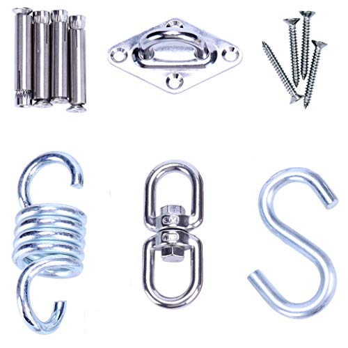 Universal Hanging KIT - Heavy Duty Sturdy Ceiling Hook Mounting Kit for Hammock Chair, Heavy Bag, Punching Bag, Hanging Plants, Porch Swing - Includes Hook Mount, Swivel Hook, Spring, S-Hook - Sup ()