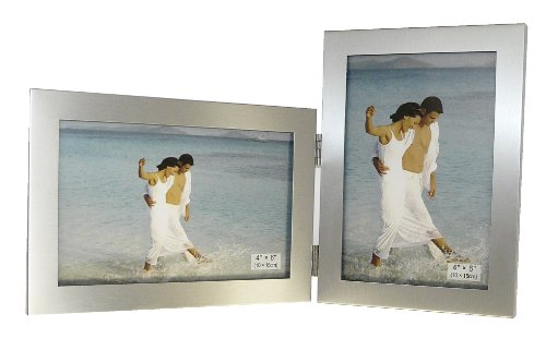 Brushed Aluminium Satin Silver Color Twin 2 Picture Double Folding Photo Frame Gift - Takes 2 Standard 6 x 4 inch photographs (1 Landscape and 1 Portrait Style)