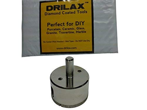Drilax 2 Inch Diamond Hole Saw Drill Bit Tiles, Glass, Fish Tanks, Marble, Granite Countertop, Ceramic, Porcelain, Coated Core Bits Holesaw DIY Kitchen, Bathroom, Shower, Faucet Installation Size 2