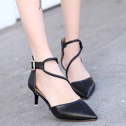 Eeayyygch Pumps Schuhe mit hohem Absatz und feinen Riemen Schwarze Schwarze Schwarze Ferse Baotou Hohle, Flache Mündung Spitze Schuhe weibliche 5 cm (Farbe   37, Größe   Creamy-Weiß) 8eb9f3