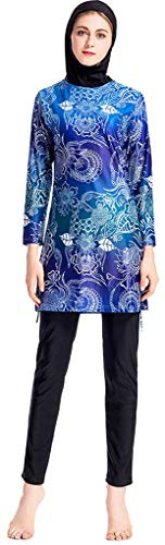 (Ababalaya Womens Modest Muslim Islamic Long Sleeve Burkini Floral Full Cover Hijab Swimsuit,Navy Blue,Tag L= US Size 2)