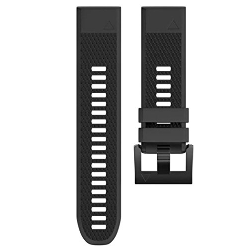 Price comparison product image Owill Replacement Silicagel Soft Band Quick Install Band Strap for Garmin Fenix 5 Plus GPS Watch (Black)
