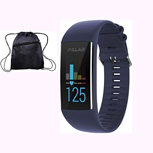 Polar A370 Waterproof GPS Fitness Tracker with Wrist Based HR - Deep Blue / Medium-Large w/ Cinch Travel Bag by Polar