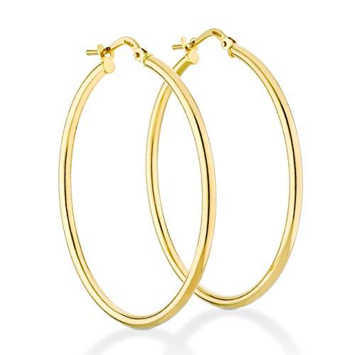 Miabella 18K Gold Over Sterling Silver Italian 2mm Polished Round Hoop Earrings for Women Men 15mm, 20mm, 30mm, 40mm, 50mm, 60mm (40)