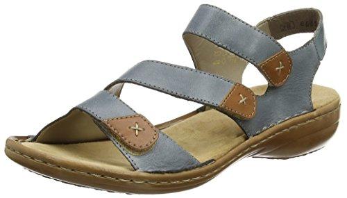 Rieker 60839-12, Sandalias Planas Mujer Azul (12)