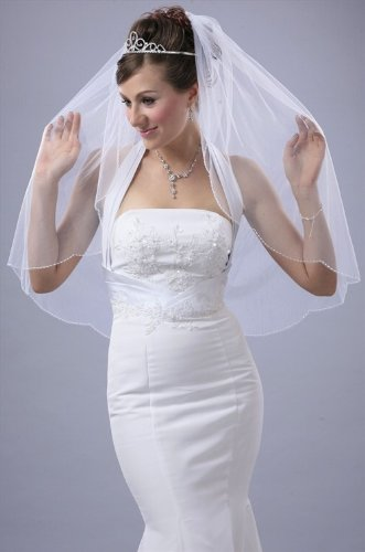Bridal Veil Ivory 1 Tier Fingertip Length Scallop Edge With White Seed Beads