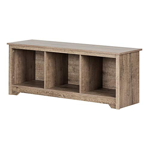 Oak Hall Seat - South Shore 12315 Vito Storage Bench Weathered Oak