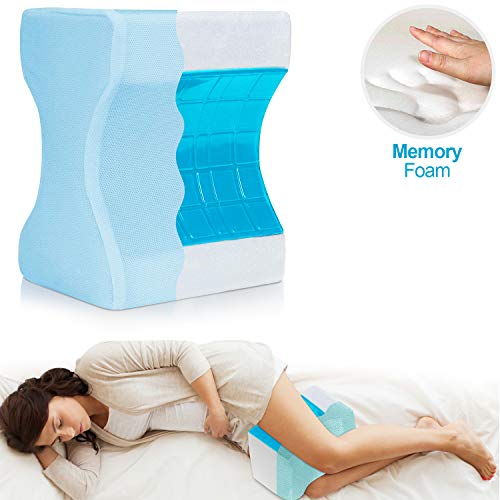 Trademark Supplies Leg Positioner Knee Pillow with Cooling Gel Pad Memory Foam - Removable and Washable Cover and Strap - Promotes Better Sleep, Improve Blood Circulation & Proper Posture Alignment