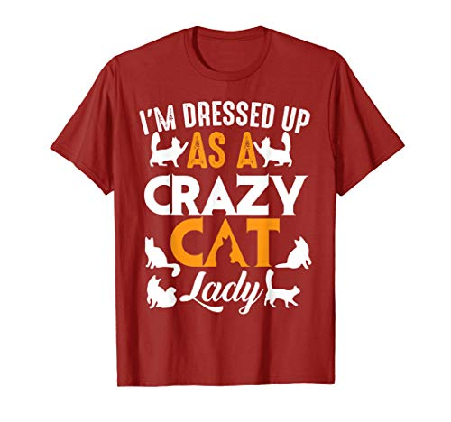 I'm Dressed Up As A Crazy Cat Lady Shirt Halloween Cool Gift T-Shirt