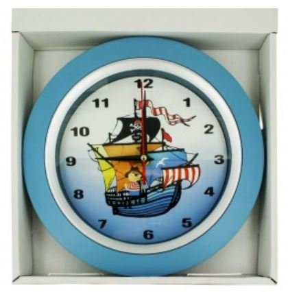 Children's Pirate Ship Bedroom Silent (No Ticking) Wall Clock - 9.5'' in Diameter