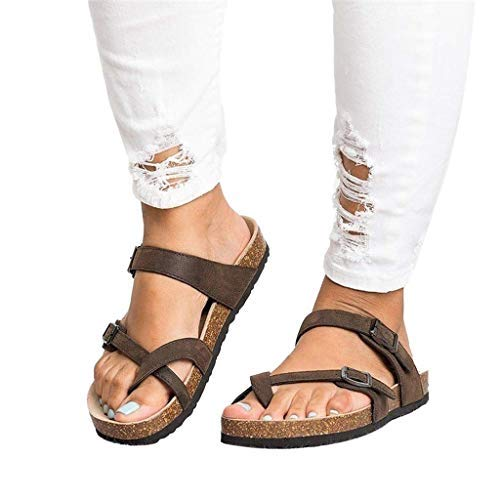 (Wllsagl Xouwvpm Women's Ladies Strap Ankle Buckle Flat Sandals Roman Shoes Slippers Leather Soft Bottom Anti Skidding Flip Flips (Brown, US:9.5))