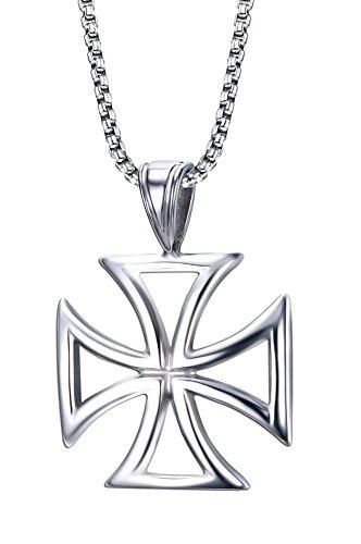 Vnox Stainless Steel Hollow Maltese Cross Pendant Necklace,Free Chain (Steel Maltese Cross)
