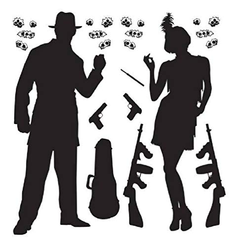 hersrfv home Roaring 1920s Gangster Props Silhouettes 20s Party Wall Decoration