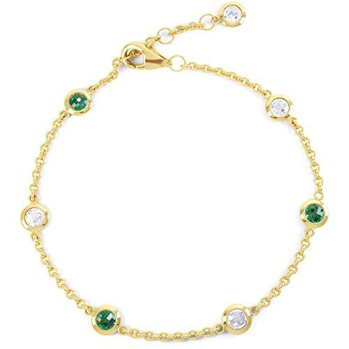 Jian London Sapphire by the Yard Bracelet serti d'émeraudes et saphirs Vermeil doré 18ct