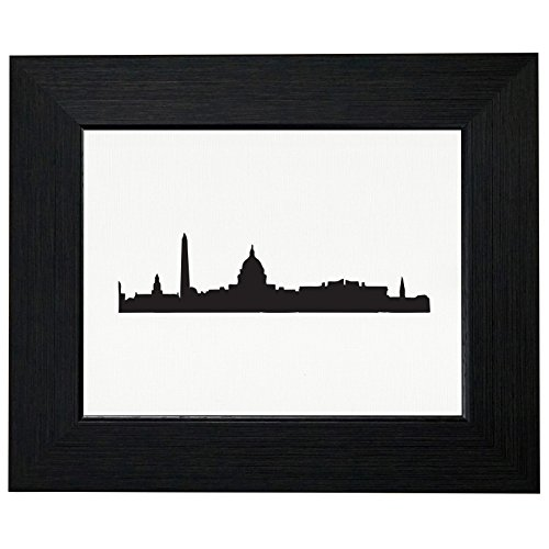 Jefferson Wall Mount - Washington D.C. Skyline Silhouette Graphic Framed Print Poster Wall or Desk Mount Options