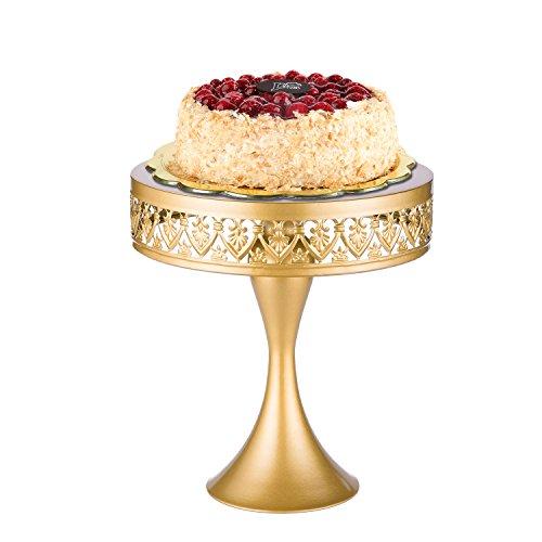 "18K Gold Antique Metal Cake Stand, Round Cupcake Stands, Wedding Birthday Party Dessert Cupcake Pedestal/Display/Plate (18K Gold Mermaid 10"") (Gold White 18ct Plate)"